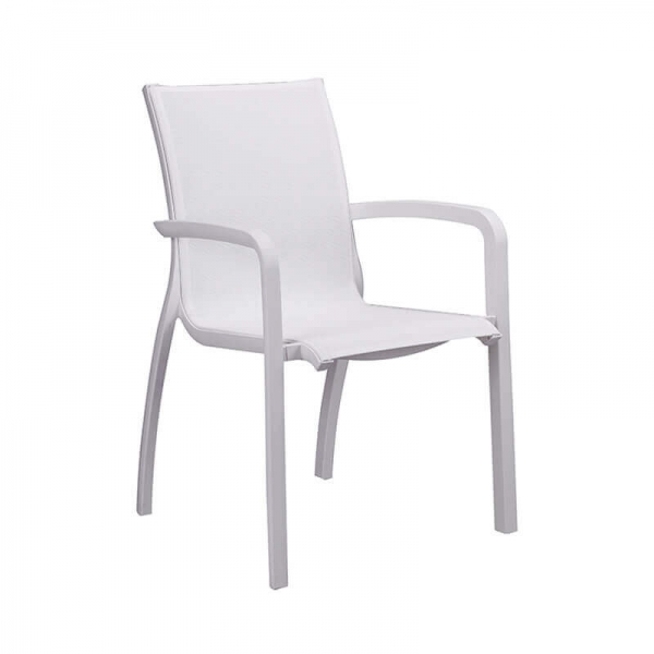 Fauteuil en toile blanche empilable made in France - Sunset Grosfillex - 5