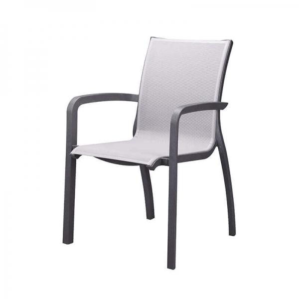 Fauteuil en toile gris et structure noire made in France - Sunset Grosfillex - 14
