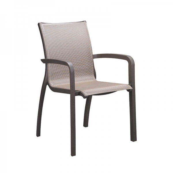 Fauteuil en toile marron empilable made in France - Sunset Grosfillex - 15