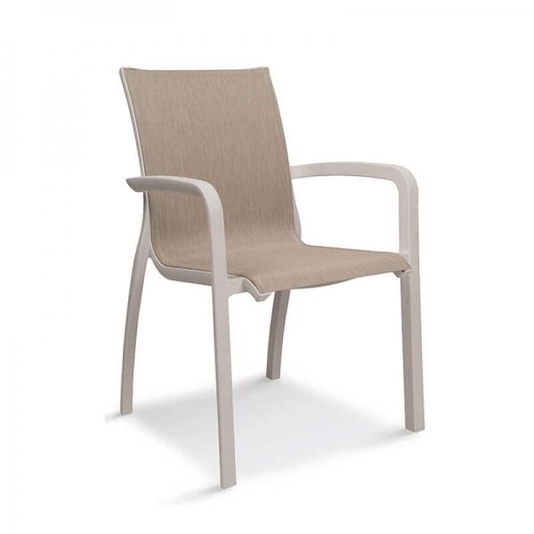 Fauteuil en toile beige et structure blanche empilable - Sunset Grosfillex - 6