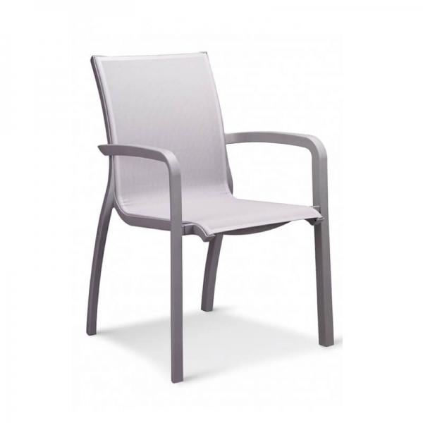 Fauteuil en textilène gris empilable style contemporain - Sunset Grosfillex - 10