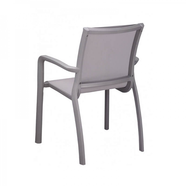 Fauteuil en textilène gris empilable made in France - Sunset Grosfillex - 12