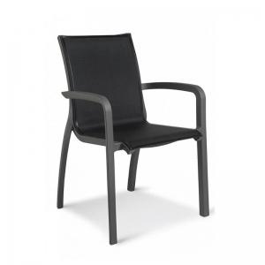 Fauteuil empilable noir en toile fabrication française - Sunset Grosfillex