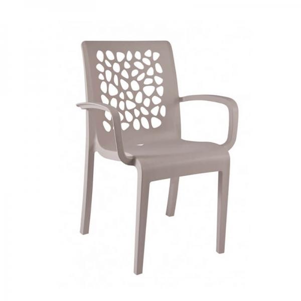 Chaise de jardin avec accoudoirs beige empilable dossier ajouré - Tulipe Grosfillex - 13
