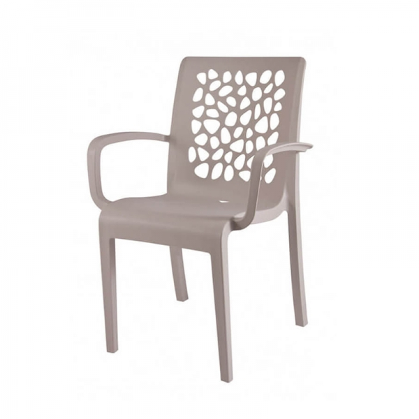 Chaise de jardin beige avec accoudoirs empilable made in France - Tulipe Grosfillex - 14