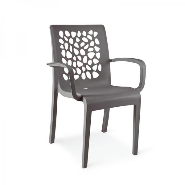 Chaise d'extérieur avec accoudoirs en polypropylène gris anthracite - Tulipe Grosfillex - 11