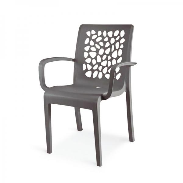 Chaise avec accoudoirs gris anthracite empilable pour l'extérieur - Tulipe Grosfillex - 12