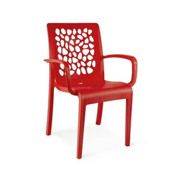 Chaise made in France avec accoudoirs empilable rouge - Tulipe Grosfillex - 11