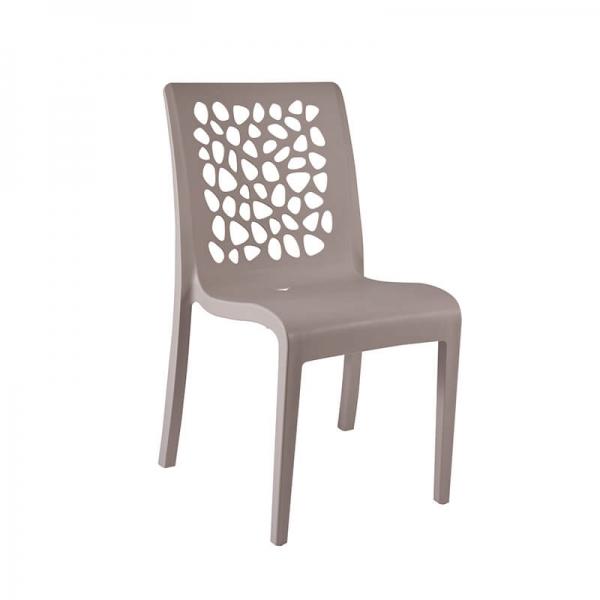 Chaise empilable en polypropylène lin avec dossier ajouré - Tulipe Grosfillex - 1