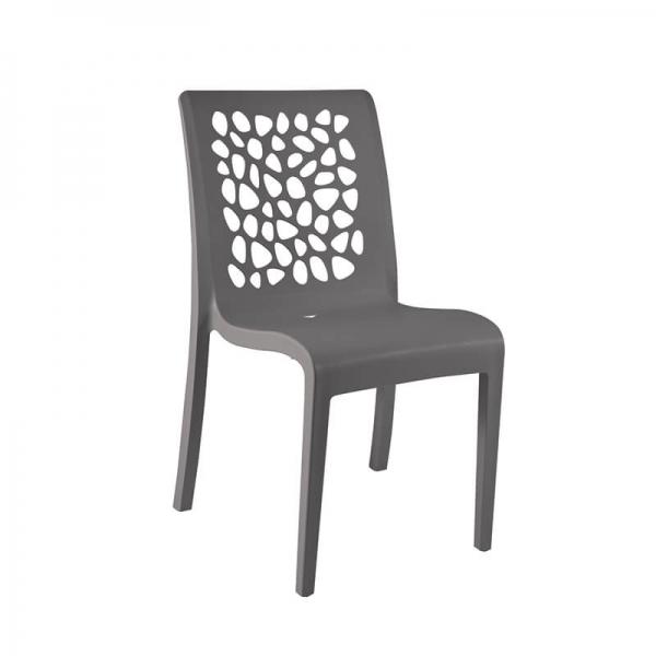 Chaise française grise empilable avec dossier ajouré - Tulipe Grosfillex - 3