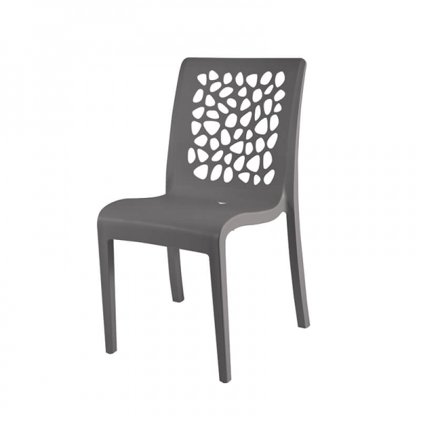 Chaise en polypropylène grise de fabrication française - Tulipe Grosfillex - 4