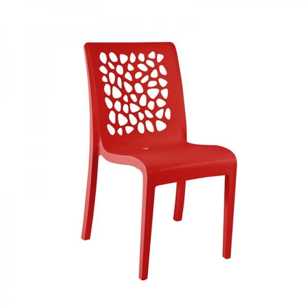 Chaise rouge en polypropylène empilable fabrication française - Tulipe Grosfillex - 5