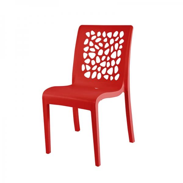 Chaise design français rouge avec dossier original - Tulipe Grosfillex - 6