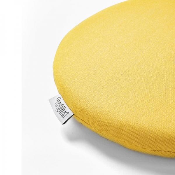 Coussin de fauteuil en tissu jaune chiné - Yéyé Grosfillex - 28