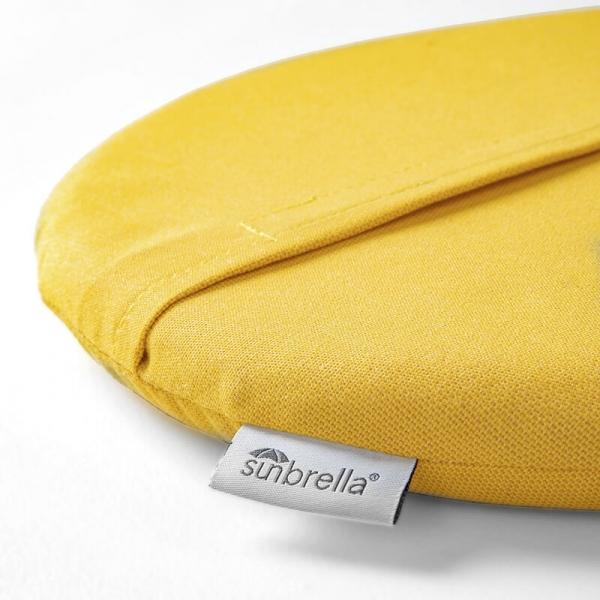 Coussin de fauteuil en tissu jaune chiné - Yéyé Grosfillex - 29