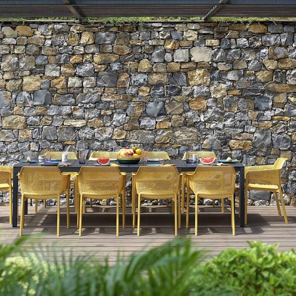 Fauteuil de terrasse moderne en polypropylène moutarde - Net - 6