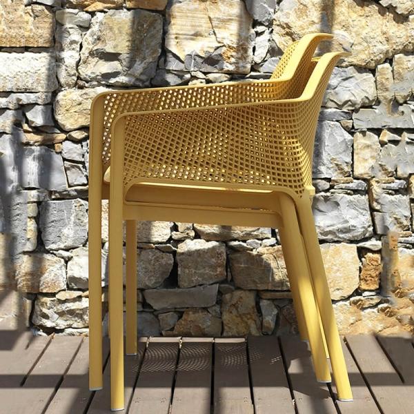 Fauteuil de terrasse moderne en polypropylène moutarde - Net - 7