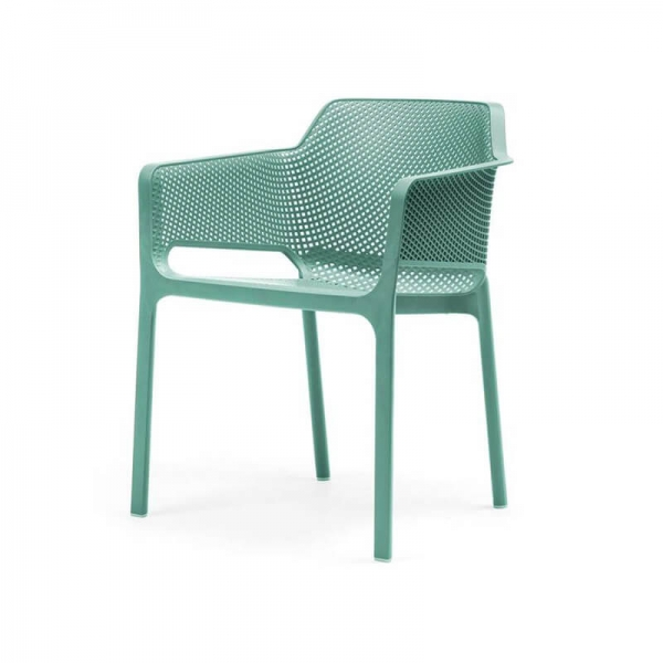 Fauteuil de terrasse moderne en plastique vert salice - Net - 17