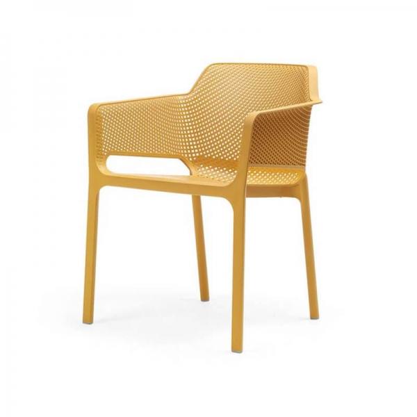 Fauteuil de terrasse moderne en polypropylène moutarde - Net - 21