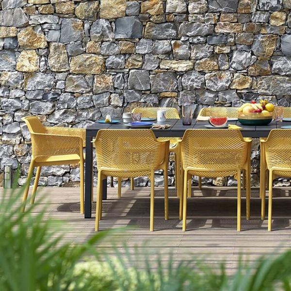 Fauteuil de terrasse moderne en polypropylène moutarde - Net - 2