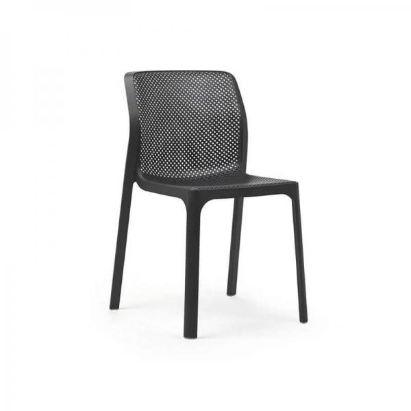 Chaise de jardin moderne en polypropylène anthracite - Bit - 9
