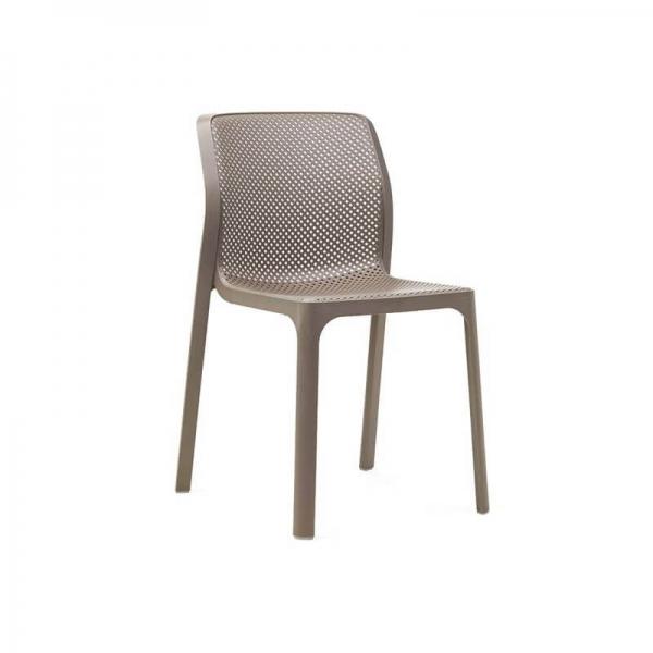 Chaise de jardin moderne en polypropylène taupe - Bit - 13