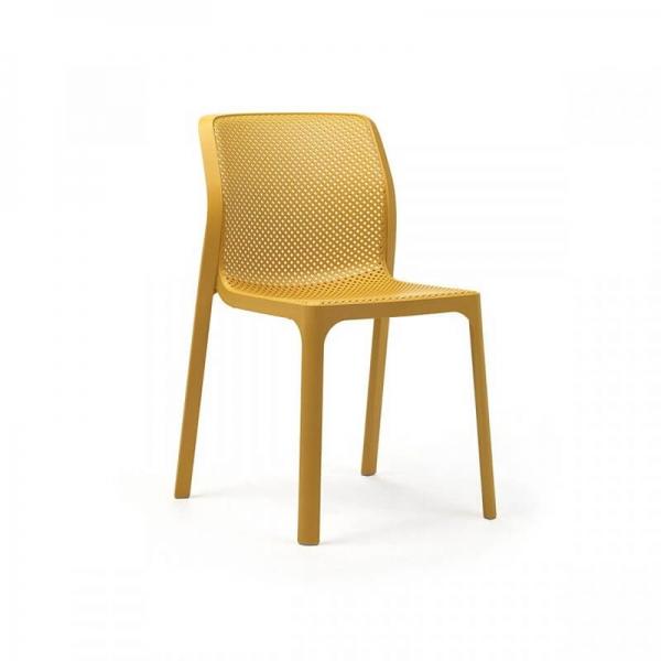 Chaise de jardin moderne en polypropylène moutarde - Bit - 15