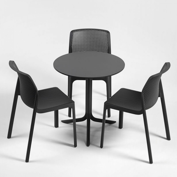 Chaise de jardin moderne en polypropylène anthracite - Bit - 22