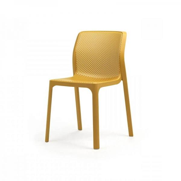 Chaise de jardin moderne en polypropylène moutarde - Bit - 16
