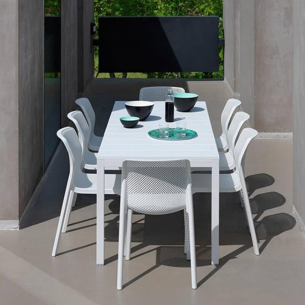 Chaise de jardin moderne en polypropylène blanc - Bit - 4