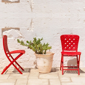 Chaise de terrasse pliante rouge - Zac Spring