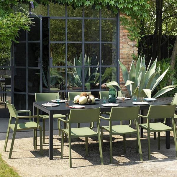 Table de jardin extensible en polypropylène DurelTop et aluminium anthracite - Rio - 3