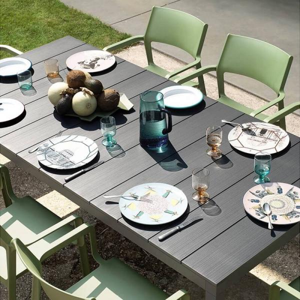 Table de jardin extensible en polypropylène DurelTop et aluminium anthracite - Rio - 4