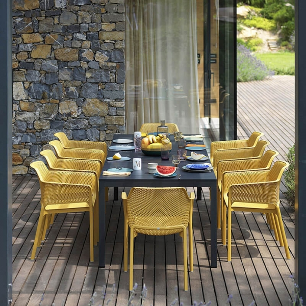 Table de jardin extensible en polypropylène DurelTop et aluminium anthracite - Rio - 10