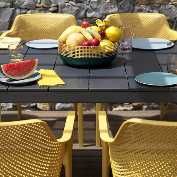 Table de jardin extensible en polypropylène DurelTop et aluminium anthracite - Rio - 12