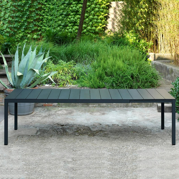 Table de jardin extensible en polypropylène DurelTop et aluminium anthracite - Rio - 8