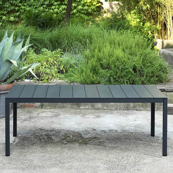 Table de jardin extensible en polypropylène DurelTop et aluminium anthracite - Rio - 7