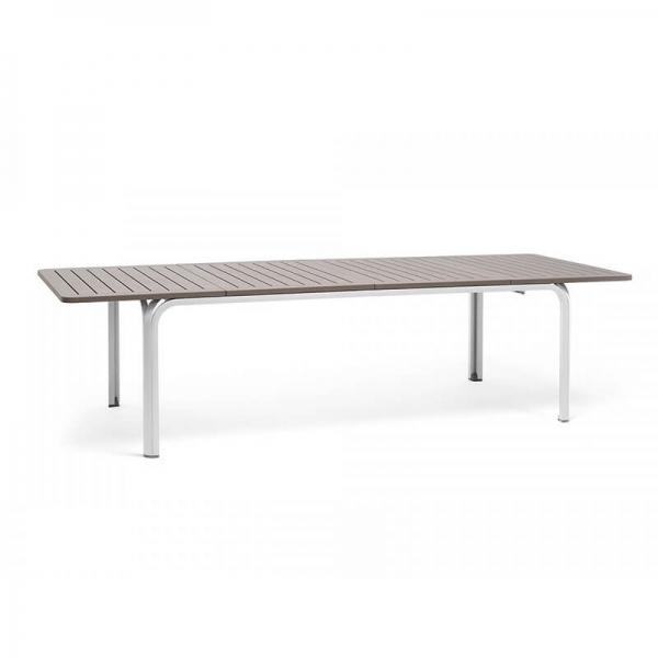 Table de jardin extensible en polypropylène blanc et taupe - Alloro 210 - 19