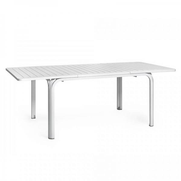 Table de jardin avec allonge en polypropylène blanc - Alloro 140 - 12