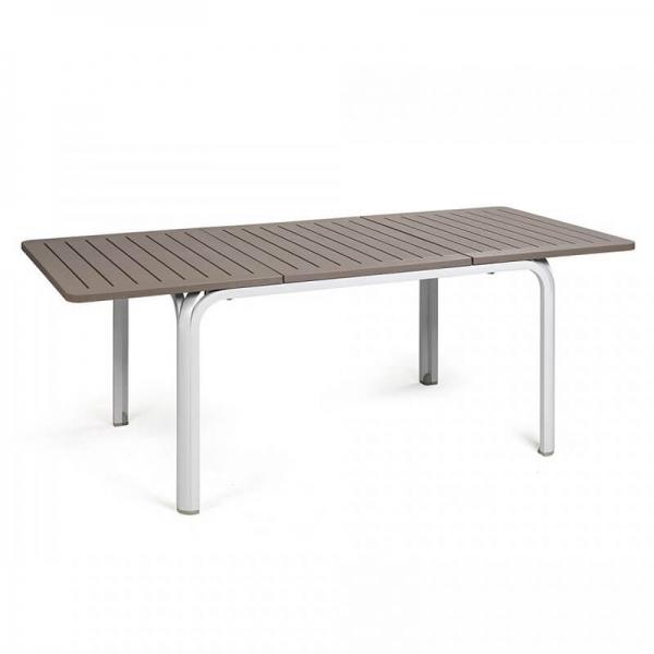 Table de jardin extensible en polypropylène blanc et taupe - Alloro 140 - 15