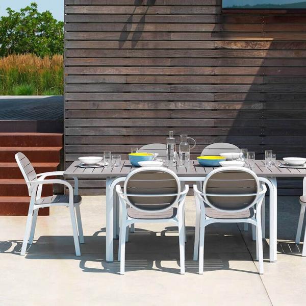 Table de jardin extensible en polypropylène blanc et taupe - Alloro - 3