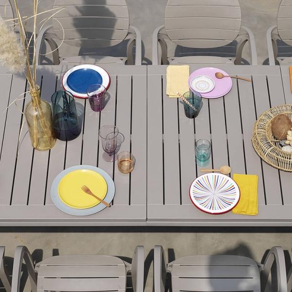 Table de jardin extensible en polypropylène taupe - Alloro - 5