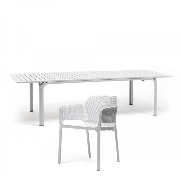 Salon de jardin en polypropylène et aluminium blanc - Alloro net 3 - 5