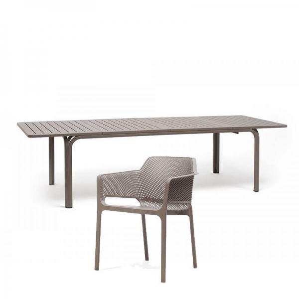Salon de jardin en polypropylène et aluminium taupe - Alloro net 3 - 6