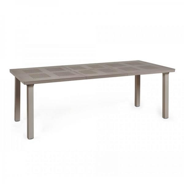 Table de jardin avec allonge en polypropylène taupe - Levante - 5