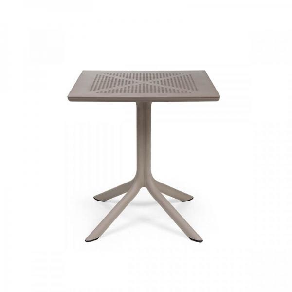 Petite table d'extérieur carrée en polypropylène taupe - Clip 70 - 7