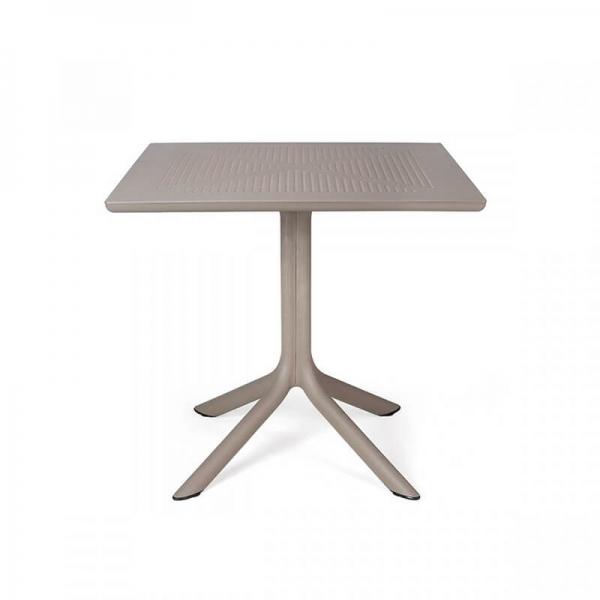 Petite table d'extérieur carrée en polypropylène taupe - Clip 80 - 10