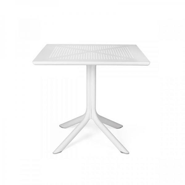 Petite table d'extérieur carrée en polypropylène blanc - Clip 80 - 9
