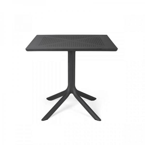 Petite table d'extérieur carrée en polypropylène anthracite - Clip 80 - 8