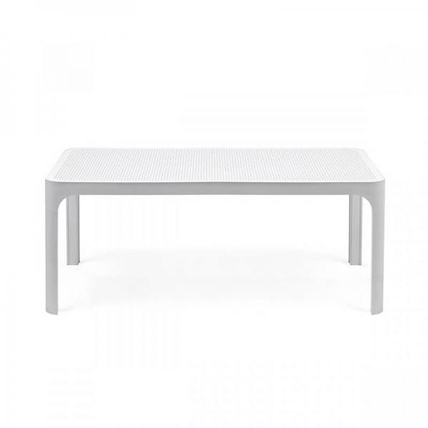 Table basse de jardin moderne avec plateau blanc micro-perforé 100 x 60 cm - Net - 10
